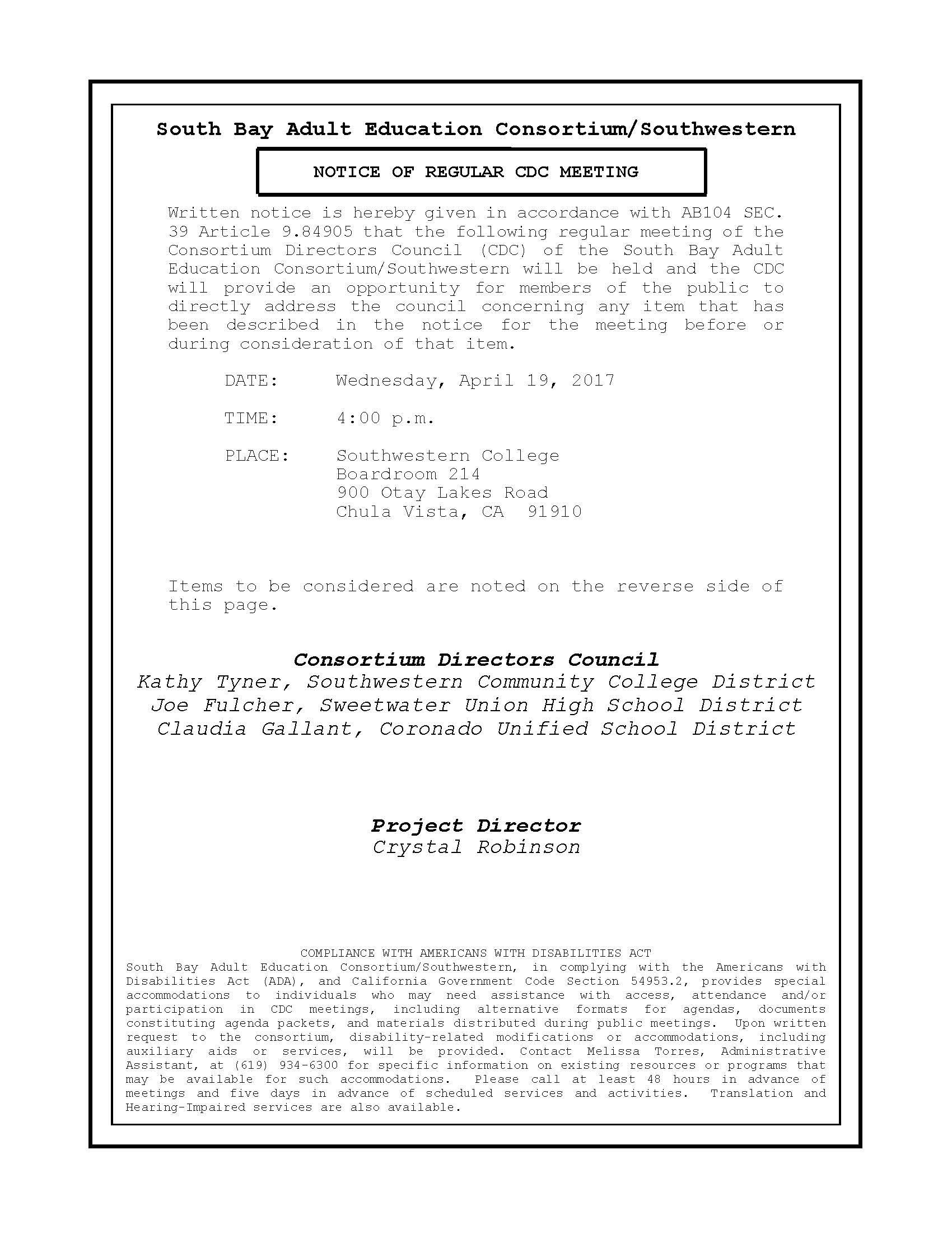 CDC Meeting Notice 4.19.17