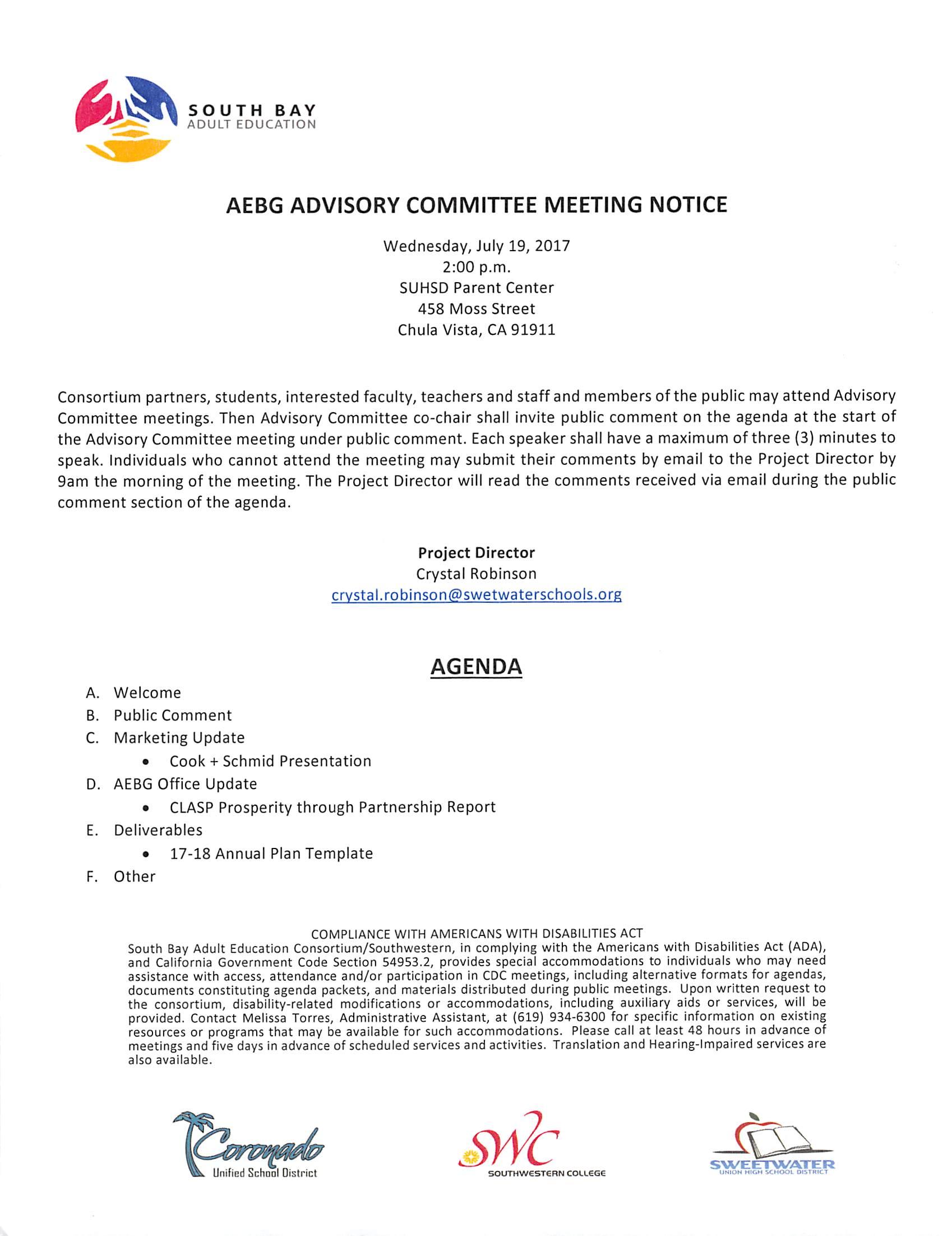 Advisory Committee Meeting Notice