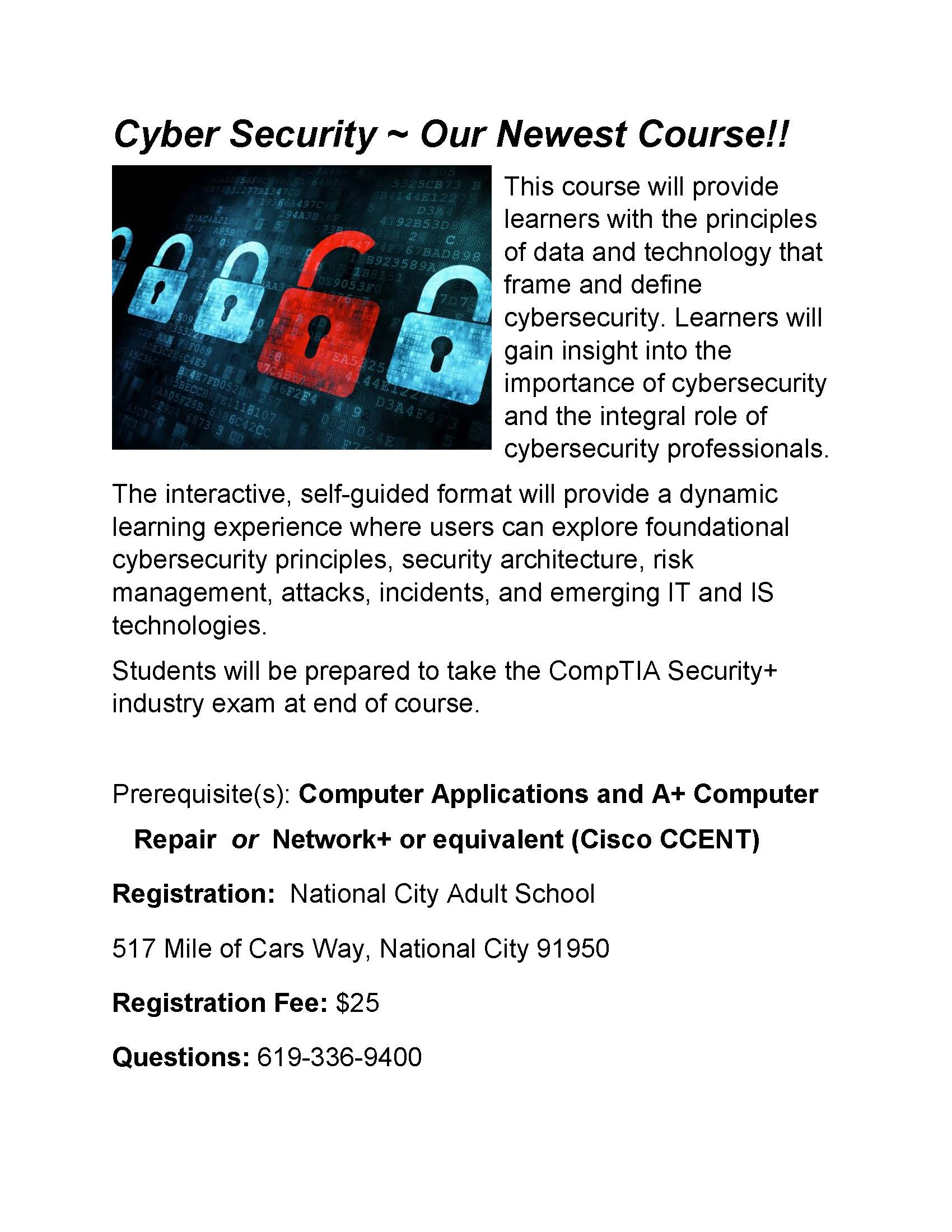 New Cyber Security Course at National City Adult School